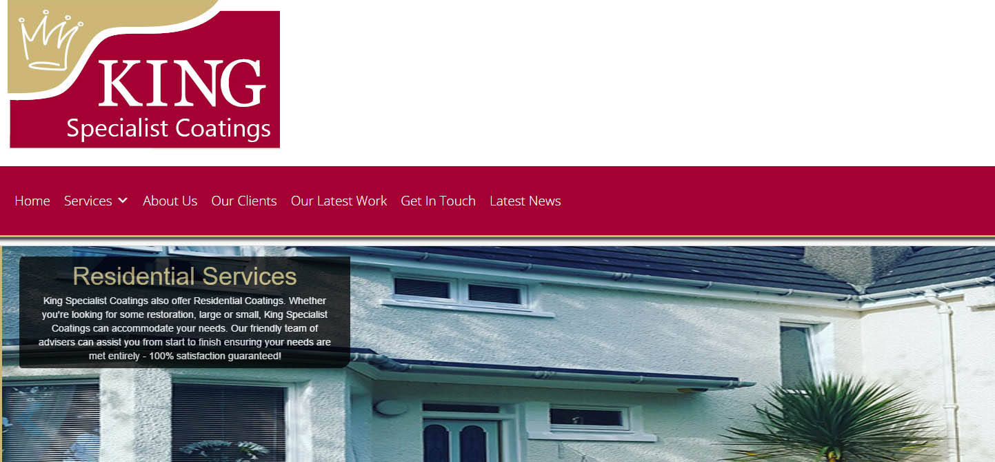 Website for King Specialist Coatings
